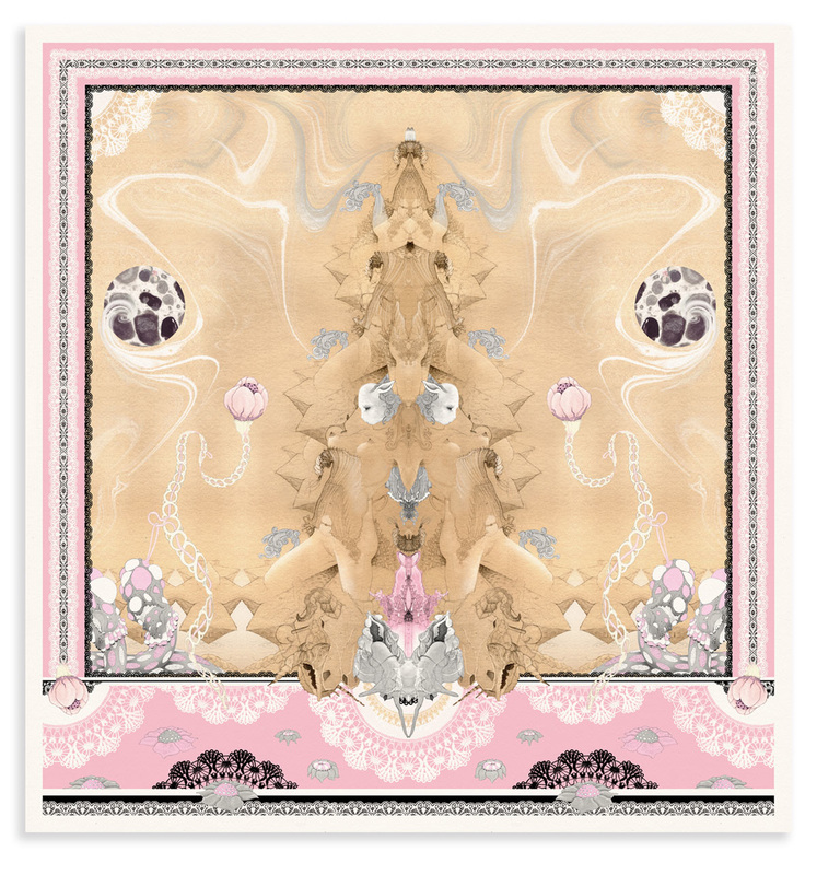 Erotically suggestive mirrored image with pink and grey pallette entitled Double Take by Bourdon Brindille