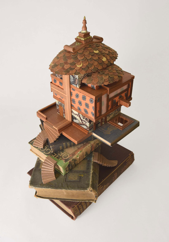 Wooden House on the Hill Sculpture From Above by Bourdon Brindille