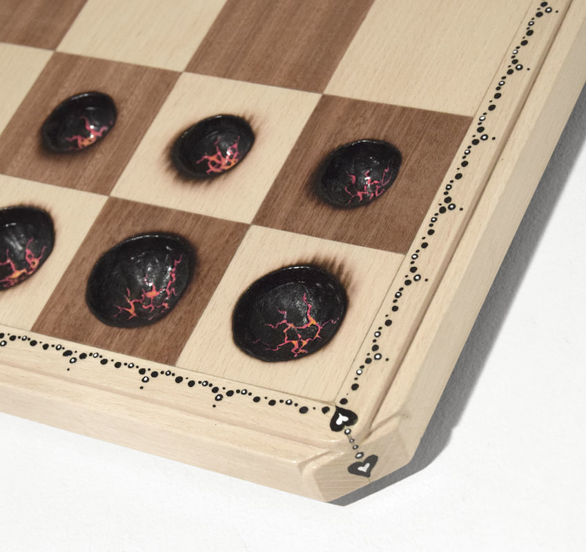 Chess Board with scorched places where pieces should be by Bourdon Brindille