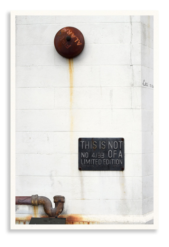 Doctored photograph of rusty fire alarm entitled 'Ode 3' by Bourdon Brindille