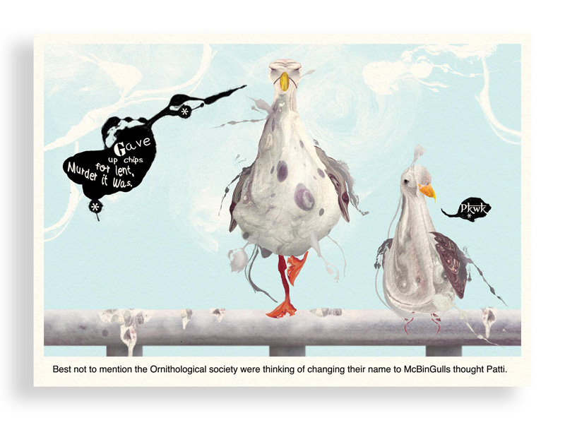 Print of Colourful Comic Postcard of a Seagull Giving up Chips for Lent by Bourdon Brindille