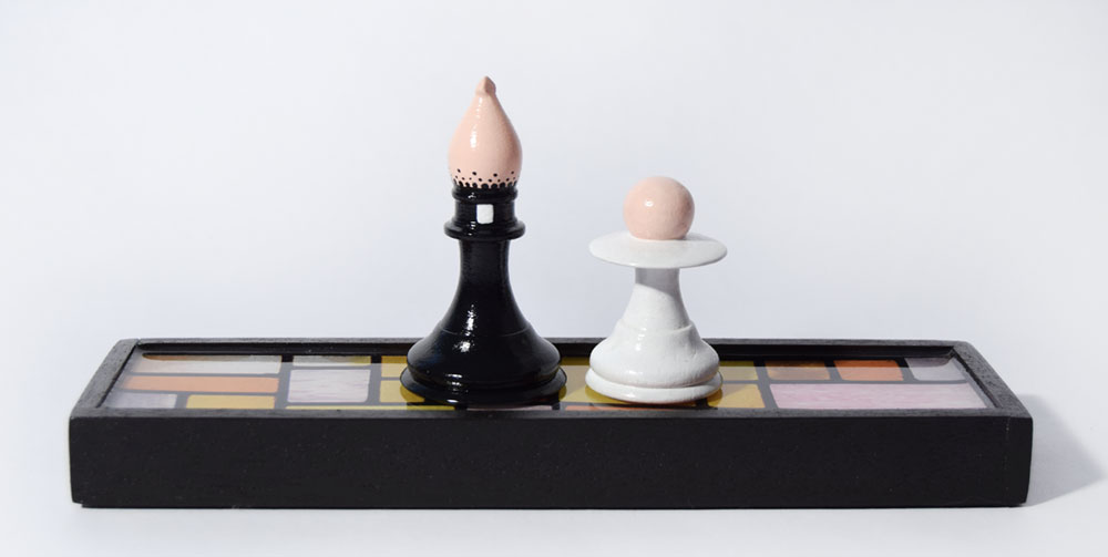 Pawn dressed as Alter Boy and Bishop Chess Pieces By Bourdon Brindille