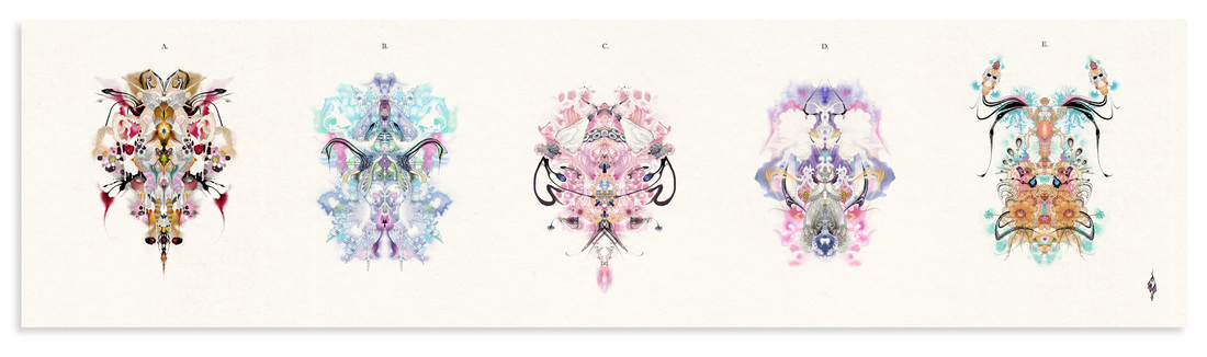 5 Rorschach images in line and in colour called 'i-Test' by Bourdon Brindille